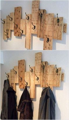 Recycled pallets // home decor ideas pallet coat racks, wood pallets, wood projects Pallet Home Decor, Wooden Pallet Projects, Diy Pallet Furniture, Easy Home Decor, Furniture Ideas, Furniture Design, Garden Furniture, Wood Furniture, Recycled Home Decor