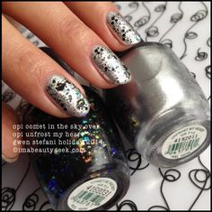 OPI Comet in the Sky over OPI Unfrost My Heart Gwen Stefani Holiday 2014. All the swatches @ www.imabeautygeek.com