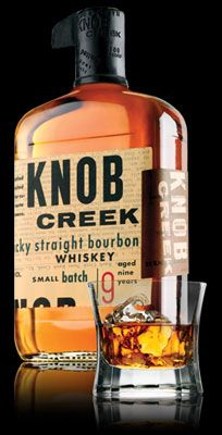 Knob Creek Kentucky Straight Bourbon Whiskey - Knob Creek Distillery Co., Clermont, KY: Handcrafted in limited quantities, Knob Creek® is aged nine years to fully draw out the natural sugars in its charred white oak barrels. As a result, this exceptional, full-bodied bourbon strikes the senses with a maple sugar aroma, distinctive sweetness and rich, woody, caramel flavor with a long, smooth finish. Made at 100 proof and created to reflect the flavor, strength, care and patience...