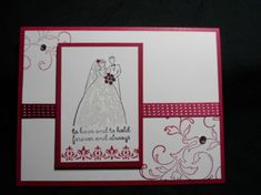 "On Thursday I had a my monthly Card Class which is centered around the ""Best Of"" stamp set series. Stampin' Up! Wedding Anniversary Cards, Wedding Cards, Studio Cards, Card Making Supplies, Card Making Techniques, Here Comes The Bride, Diy Cards, Homemade Cards, Stampin Up Cards"