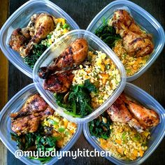 """242 Likes, 63 Comments - MyBodyMyKitchen (@mybodymykitchen) on Instagram: """"Baked chicken, sautéed spinach and brown rice with green and yellow Bell peppers. Recipes and…"""""""