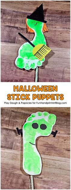 This is a simple DIY project for kids to begin celebrating Halloween. These Spooky Footprint Halloween Stick Puppets are fun to make and fun to play with.