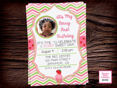 BERRY FIRST BIRTHDAY  Berry First Birthday Invitation, Printable Strawberry Invitation, Berry Birthday, Personalized Berry Invitation by BlissfulBethDesigns on Etsy