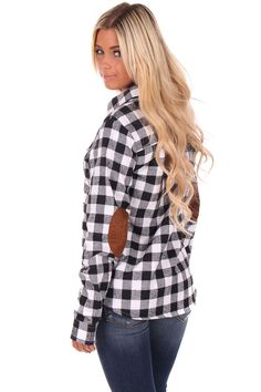Lime Lush Boutique - Black and White Plaid Flannel Shirt with Suede Elbow Patch, $52.99 (http://www.limelush.com/black-and-white-plaid-flannel-shirt-with-suede-elbow-patch/)