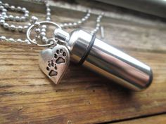 Cremation Urn Necklace w/ Paw Prints Charm Pet by ThePeapodShop, $10.00