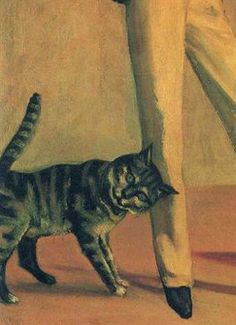 Painting by Balthus (1908–2001), 1935,  The King of Cats, oil on canvas. Fondation Balthus, Switzerland. (detail)