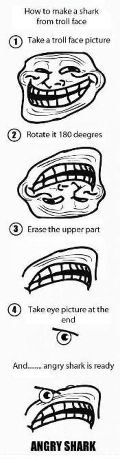 How To Make a Shark From Troll Face...