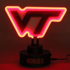 Virginia Tech Hokies Team Logo Neon Light