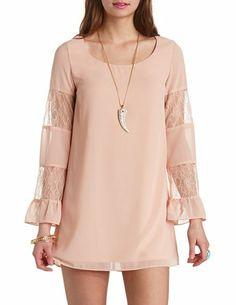 Lace Bell Sleeve Chiffon Shift Dress: Charlotte Russe