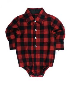 Rugged butts adorable buffalo plaid onesie for your little boy. Add some leg warmers or jeans and it's the perfect Christmas outfit.