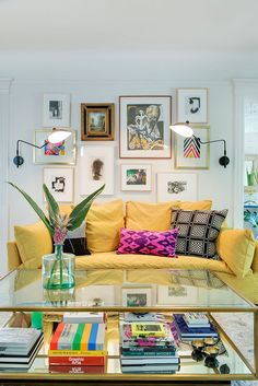 Living Room with Yellow Couch + Pillows   Lucy Interior Design