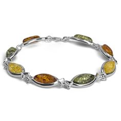 Sterling Silver Multicolor Amber Marquise Bracelet 7.5 Inches. Amber is organic material with healing properties. Weight of amber is traditionally calculated in grams, not carats like precious gemstones. Market value of amber is approximately the same as silver and price for finished piece of jewelry calculated by total weight of the product. Some bright colors of amber, which we have decided to offer you, such as blue, green, purple, green, red, pink have a special coating. The bottom of…
