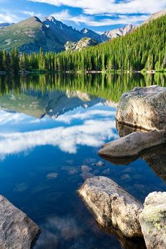 Longs Peak reflecting in Bear Lake, Rocky Mountain National Park, Colorado; photo by Andy Cook