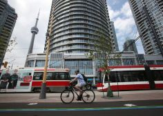 A cyclist uses the new bike lanes on Queens Quay between Yonge and Bathurst Sts. Toronto Star, The Province, Urban Design, Cn Tower, Ontario, Acre, Skyscraper, Transportation, Street View