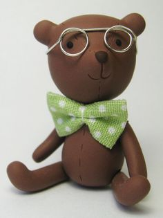 Nerdy Brown polymer clay bear with glasses and bow by hollyjayne, $20.00