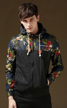 Men's Stylish Floral-Print LightWeight Hoodie Jackets Wind-Resistant Coat in Clothing, Shoes & Accessories, Men's Clothing, Coats & Jackets