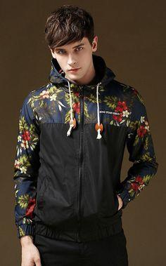 Men\'s Stylish Floral-Print Lightweight Hoodie Jackets Wind-Resistant Coat