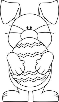 Black and White Easter Bunny Hugging an Easter Egg Clip Art - Black and White Easter Bunny Hugging an Easter Egg Image: