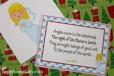 FREE Printable 12 Days of Christmas Poem and Nativity cards at happyhomefairy.com!