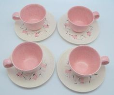 4 Tickled Pink Vernonware Cup & Saucer Sets  Retro Atomic Mid Century Modern