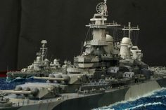 USS Missouri (BB-63) and Fletcher-class destroyer diorama.