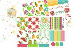 Planner Stickers Weekly Kit Aloha Fruits for your Erin Condren Life Planner…