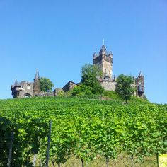 Reichsburg castle in Cochem, Germany is a really nice place to visit..  The views of the Moselle river are beautiful.  They also hold medieval dinners at the castle which is a lot of fun!