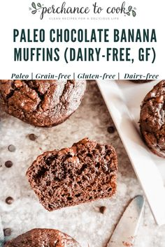 Paleo Chocolate Banana Muffins (Dairy-free, Gluten-free) | Perchance to Cook, www.perchancetocook.com Chocolate Banana Muffins, Healthy Chocolate, Chocolate Recipes, Egg Free Recipes, Real Food Recipes, Baking Recipes, Primal Recipes, Whole30 Recipes, Healthy Recipes