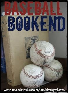 baseball, bookends, vintage baseball, diy, boys room, ideas