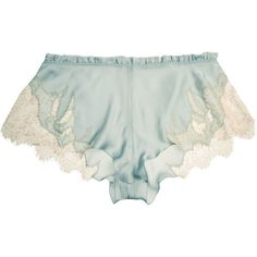 Carine Gilson Florence lace-trimmed silk-satin shorts ($635) ❤ liked on Polyvore featuring intimates, panties, lingerie, shorts, sleepwear, underwear, blue, silk satin camisole, carine gilson and lace trim cami