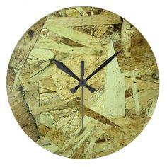 OSB Chip Board Plywood Wall Clock