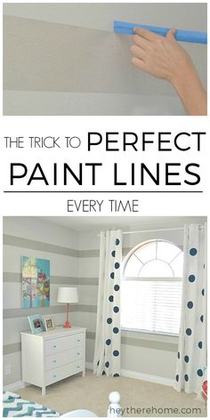 AWESOME TIP! How to Get Perfect Paint Lines Every Time. No more touch ups when painting stripes.