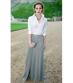 Love this entire look!  @Who What Wear - Emma Watson Tip: Dress up your white work shirt with a floor-grazing maxi skirt.  Paging Caroline Herrera! Watson channeled the designer's signature look in a crisp white Ralph Lauren button-down shirt and gray maxi skirt from the F/W 14 collection at a charity dinner earlier this month, and we think the sophisticated look is spot-on choice for a fancy summer soiree.