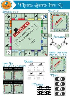 Monopoly Inspired Party Printable, First Birthday Invitation, Digitable… Monopoly Party, Monopoly Theme, Monopoly Board, Fun Games, Party Games, Game Night Parties, An Affair To Remember, Party Kit, Party Ideas
