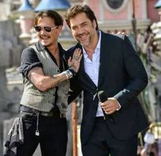 Javier Barden and Johnny Depp, Paris France premiere POTC 5 (5-14-2017