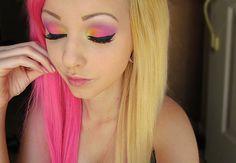 Pink hair and make up