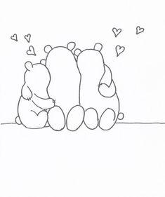 Free Printable Fathers Day Coloring Page With Bear Family Write Names Under Them To Make It A Personalised Card Can Draw More Little Bears For U
