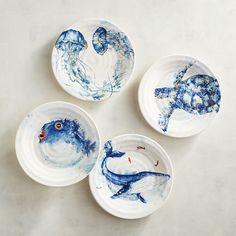 Sea Life Critters Jellyfish, Blowfish, Turtle, & Whale Salad Plates, Set Of 4