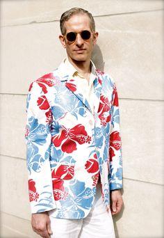 Men's tropical print blazer #moodfabrics #menswear