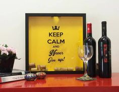 Quadro porta Rolhas Keep Calm and Never Give Up! Quadro para Coleções - Rolhas