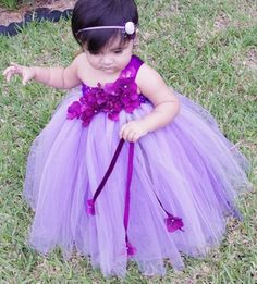 Purple Tutu Flower Girl Dresses | Purple Dreams Tutu Dress Flower Girl by FloppyBunnyBoutique, $45.00
