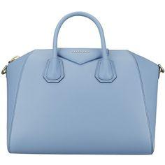 Givenchy Medium Antigona (9.670 RON) ❤ liked on Polyvore featuring bags, handbags, purses, accessories, bolsas, light blue, leather handbags, light blue handbags, light blue leather purse and givenchy handbags