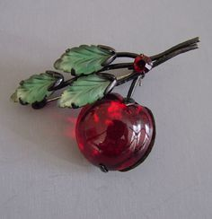 AUSTRIA red and green apple pin