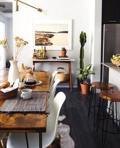 small space kitchen and dining area ;eclectic dining area; wood rustic and modern mix
