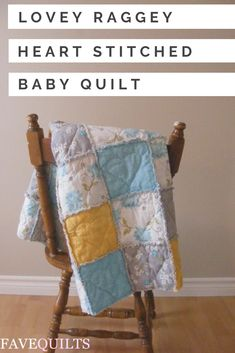 Give a little love to a special little baby in your life with the Lovey Raggey Heart Stitched Baby Quilt. This simple baby quilt pattern combines some beautiful stitching and soft simple rag quilt patterns to keep a resting baby comfortable and happy Quilting Tutorials, Quilting Projects, Sewing Projects, Quilting Ideas, Sewing Ideas, Sewing Tips, Beginner Quilting, Patchwork Quilting, Patchwork Bags