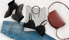 minimalism - minimalist - closed jeans - a.p.c. half moon bag - lace bra & other stories - shirt samsøe & samsøe - acne studio jensen boots - na-kd choker
