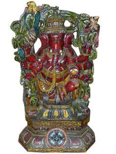 Hindu Ganesha Statue Eight Armed Dancing Ganesha Wood Carving 43 | eBay