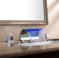 Modern  Arcuate Spout Waterfall LED Bathroom Sink Faucet Dual Handle Centerset Mixer Tap #Affiliate
