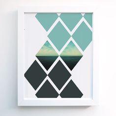 Wall Art -Geometric Diamond Ocean Minimal Modern Wall Art Print - 8 x 10 8x10 Nature Sky Clouds Water Gray Blue - Home decor Wall decor on Etsy, $15.00