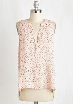 Swift Me Off My Feet Top - Mid-length, Pink, Print with Animals, Print, Work, Casual, Critters, Bird, Sleeveless, Spring, Summer